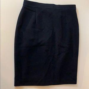 Vtg Valentino Black Flat Waist Pencil Skirt Sz 10.